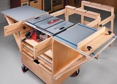 The small size of the saw table on compact table saws makes it difficult to cut large pieces like plywood. This mobile table saw station extends to create a large work area and then folds up into a compact package that can be stored out of the way. Cutting diagrams and materials list are available free at http://www.shopnotes.com/issues/104/extras/table-saw-workstation/: