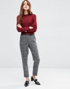 ASOS Cigarette Trouser In Texture with Belt
