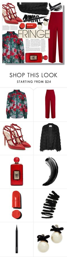 """""""Shimmy Shimmy: Fringe (4)"""" by sc-styles ❤ liked on Polyvore featuring Adam Selman, Anja, Roland Mouret, Valentino, Charlotte Olympia, Bobbi Brown Cosmetics, MAC Cosmetics and Kate Spade"""