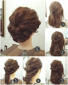 Up to #3, waves/curls at bottom then flowers in hair