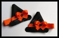 Halloween Witch Hat Creative Ribbon Art Hair Clippies