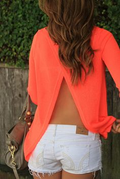 Love this backless top, the color and the white shorts which always make your bum look amazing.