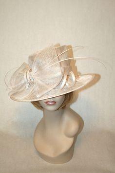 New Church Kentucky Derby Hat Sinamay White Ascot Dress Hat   eBay