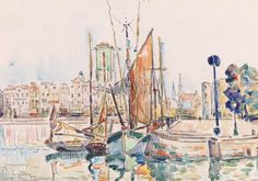 Paul Signac - La RochellePaul Signac - La Rochelle  < previous 2/5 next >  Paul Signac French, 1863–1935  c. 1911Watercolor and charcoal on laid paper ~Barnes Foundation, PA