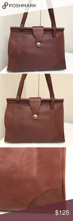 Coach vintage tote/laptop bag Rare vintage bag that has some used w/water damage in one bottom corner and minor scuffs on the strap edges but overall looks nice! Coach Bags Totes