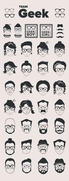 Free Face Vector pack  http://www.ultraupdates.com/2014/11/free-face-vector-geek-pack/