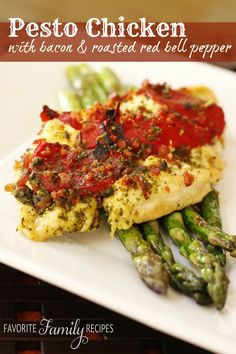 Pesto Chicken with Bacon & Roasted Red Peppers or Stuffed Pork Tenderloin - Favorite Family Recipes Real Food Recipes, Chicken Recipes, Cooking Recipes, Healthy Recipes, Eat More Chicken, Pesto Chicken, Winner Winner Chicken Dinner, Roasted Red Peppers, Food Dishes