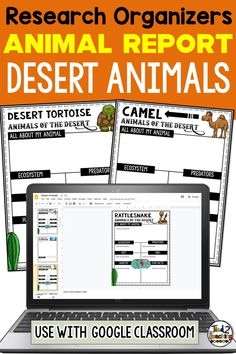 These digital DESERT animals research organizers are the perfect tool to help your students organize their research for their animal project or report. Each digital desert animal research organizer helps students organize a variety of information about their animal including the animal's ecosystem, habitat, any predators, prey (if a carnivore), diet, fun facts and more. In addition, each of these digital research organizers also comes with a page for students to write a short research report!