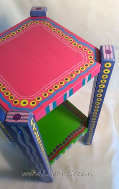 Cute Small Hand Painted Side Table With Hot Pint Top by LisaFrick, $135.00