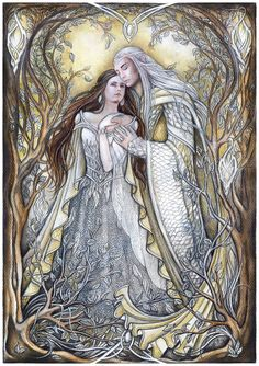 Thranduil and his wife    -                     The Swan and the Stag by jankolas on deviantART