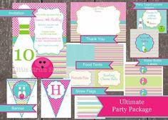 Printable InvitationGirls Bowling by CasburyLane on Etsy, $28.00