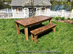 Amazing Farmhouse table with matching bench!!  Dimensions: 72 inches x 32 inches. Taking custom orders. LOCAL PICKUP ONLY IN MASSACHUSETTS... #newenglandbarnwood  #rusticdecor #rustic_wonders #rustichomedecor #rusticfarmhouse   #farmhouselove #rusticfarmhouse  #countryhome #farmhousetable #farmhousetables #countrylivingmag #vintagefarmhouse #rusticfarmcharm #farmhousehappy #cottagefarmhouse
