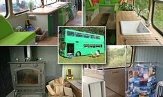 Carpenter Adam Collier-Woods fitted a kitchen, lounge and even a log burner in the bright green 31-year-old bus at a campsite in Wealden, East Sussex.