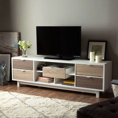 Furniture of America Dekisa Contemporary 2-Tone Mid-century Style TV Stand | Overstock.com Shopping - The Best Deals on Entertainment Centers