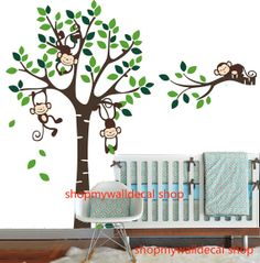 Vinyl Wall Decal simple trees tree branch cute monkey leaf Cubs home house baby room Decals Wall Sticker stickers kid kids decor 876 on Etsy, $75.00 Baby Room Decals, Vinyl Wall Decals, Wall Sticker, Tree Branches, Trees, Simple Tree, Cute Monkey, Toy Rooms, Kids Stickers