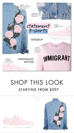 """SAY WHAT: STATEMENT T-SHIRT"" by larissa-takahassi ❤ liked on Polyvore featuring Joshua's, Ashish and Topshop"