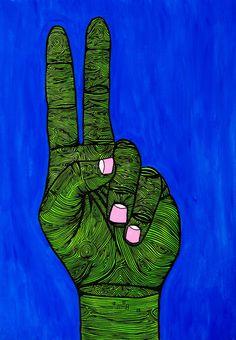 Mulga The Artist Hippie Peace, Hippie Love, Hippie Art, Peace Sign Art, Peace Signs, Hand Illustration, Illustrations, Zen Doodle, Street Artists