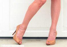 classic tan peep toe pumps