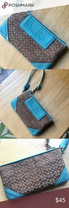 "Coach Wristlet NWOT Cute pattern on this Coach wristlet! Baby blue leather trim with canvas design. Great for dates or girls night out! Brand new, never used.  • Attach with clip inside a purse or wear on wrist • Big enough to contain smart phone, credit cards, small cosmetics • 7 1/4"" (width) x 4"" (height) Coach Bags Clutches & Wristlets"
