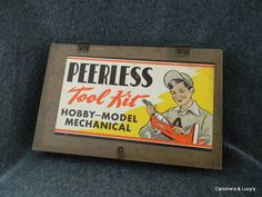 1950's Peerless Playthings Toy Co. Tool Kit Wood Box