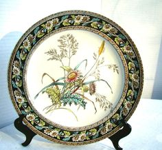 Copeland Plate, Aesthetic Movement Transferware, Antique 19th C English, Daisy & Grass Pattern - For sale on Ruby Lane #RubyLane