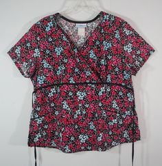 SB Scrubs Medical Scrub Top Pink Blue Black Floral Tie Back womens L Nursing #SBScrubs