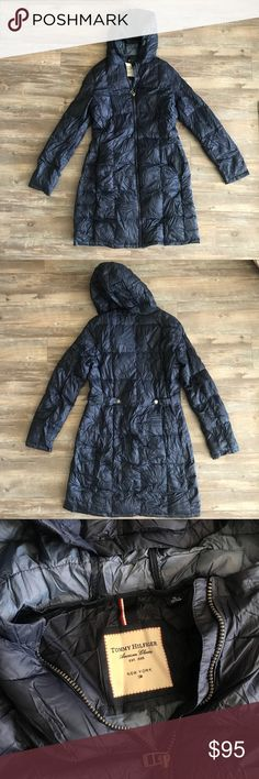Amazing Navy Down Travel Coat Super Warm Navy Down Coat with Travel or storage pouch Size M  In impeccable condition - wore for work, but we got new uniforms and coats so I no longer need this.   NO trades Tommy Hilfiger Jackets & Coats Puffers