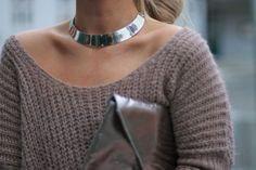Large thick queen like silver chrome choker necklace.     //Pinned on @benitathediva, DIY Fashion LifeSTYLE Blog