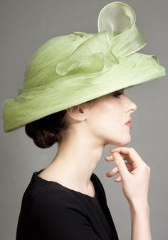 Rachel Trevor -Morgan M.  R1289 - Soft green organza swirl hat with organza bow