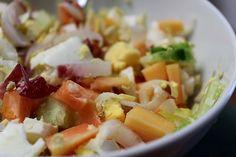 salad with papaya and hard boiled egg