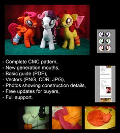 My Little Pony plushie pattern - CMC - Sweetie Belle, Scootaloo, Applebloom - guide - support. MLP. Cutie Mark Crusaders