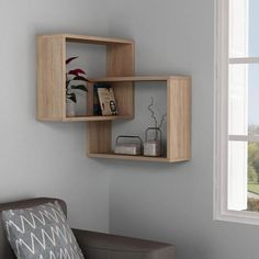 Warner Oak MidCentury Modern Wall Shelf, Brown - Diy Home Decor Wood Wall Shelf, Wall Shelves Design, Glass Shelves, Corner Shelf Design, Cube Wall Shelf, Wall Shelf Decor, Wall Décor, Floating Shelves, Decor Room