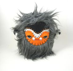 Cute Plush Monster Kawaii Stuffed Animal Toy Monster Plushie Grey Orange Black Snuggly Faux Fur Toy 7 inches tall medium size by TheJaeBird on Etsy