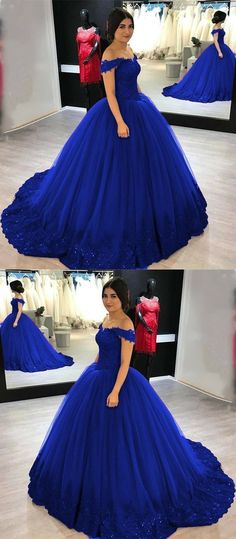 Royal Blue Lace Appliques V-neck Off Shoulder Tulle Wedding Dress Ball Gowns, Shop plus-sized prom dresses for curvy figures and plus-size party dresses. Ball gowns for prom in plus sizes and short plus-sized prom dresses for Royal Blue Dresses, Prom Dresses Blue, Ball Dresses, Ball Gowns, Evening Dresses, Sweet 16 Dresses Blue, Quincenera Dresses Blue, Royal Blue Gown, Pageant Dresses
