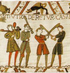 From the Bayeux Tapestry, men in shorter tunics engaged in sword-fighting