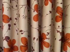 Blockout Curtain Fabric Orange Fl Print Cream Backgound