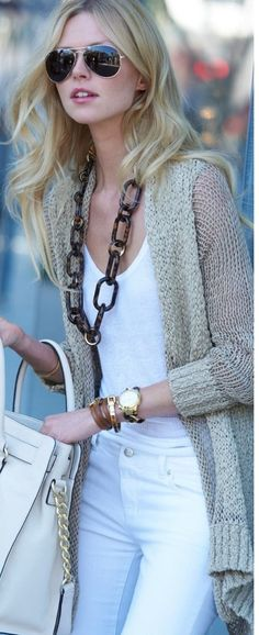 Stunning style outfits white skinny jeans and white shirt with black glasses.... to see more click on picture