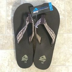 Sale Men's  New Reef flip flops Dark brown reef flip flops with cloth straps, new with tags REEF Shoes