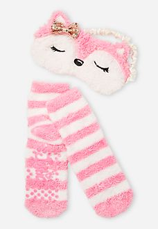 2 Piece Fox Eye Mask and Slipper Socks Set