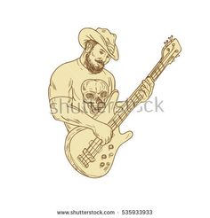 Cowboy Bass Guitar Isolated Drawing - Illustrations Drawing sketch style illustration of a bearded cowboy wearing hat holding playing bass guitar viewed from front set on isolated white background. Drawing Sketches, Drawings, Handmade Design, Illustrators, Royalty Free Stock Photos, Guitar, Bass, Embroidery, Retro Illustrations