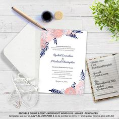 Botanical wedding invitation templates Boho by MyPrintablePaperie