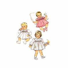 1980s Babies Smocked Dress and Panties Simplicity 5817 Vintage Sewing Pattern