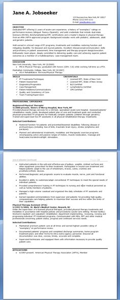 physical therapist resume example templates wordresume