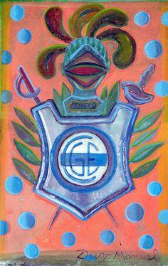 Escudo de Gimnasia con burbujas azules, acrílico sobre tela, 278 x 18 cm. 2015. by Diego Manuel