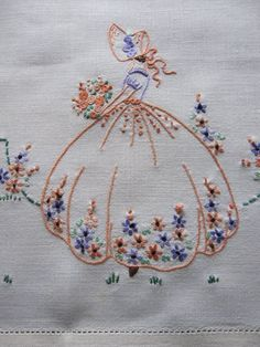 I would be willing to bet i did this pattern as a very young girl vintage tray cloth crinoline lady hand embroidered linen Embroidery Transfers, Hand Embroidery Stitches, Silk Ribbon Embroidery, Vintage Embroidery, Embroidery Art, Cross Stitch Embroidery, Machine Embroidery, Embroidery Designs, Mexican Embroidery