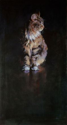 "Oil on Canvas - ""Dignan"" - Dignan, the loner, was a portrait of beauty emerging from the dark around him. Patrick Saunders Fine Arts"