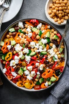 10 minutes · Vegetarian Gluten free · Serves 4 · This Greek Chickpea Salad is a fantastic vegan lunch or light dinner! It's packed with refreshing vegetables, olives, vegan feta, plant-protein rich chickpeas and a zesty homemade Greek dressing. Greek Chickpea Salad, Chickpea Salad Recipes, Greek Salad, Vegetarian Recipes, Cooking Recipes, Healthy Recipes, Amish Recipes, Quinoa Salad, Greek Recipes