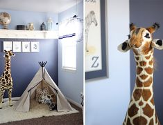 kids teepee and stuffed animals for safari inspired room