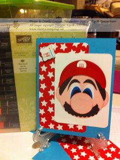 Mario Brothers Birthday Card for my son.  Using Stampin' Up! punches.