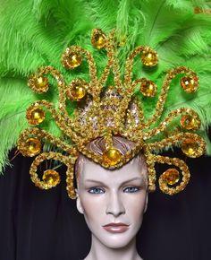 Ostrich Feather Headdress Showgirl Samba Carnival | eBay
